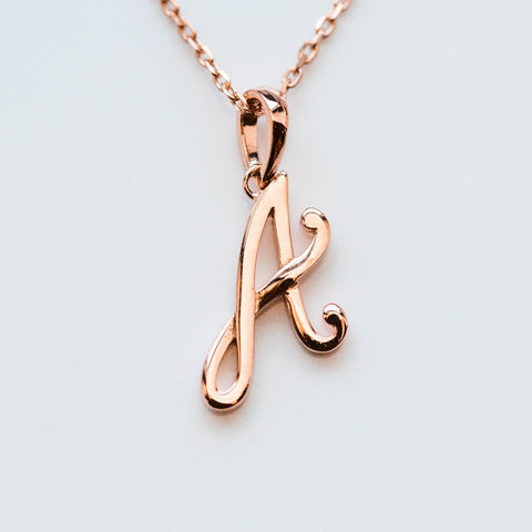 Solid Rose Gold Initial Charm Letter Necklace