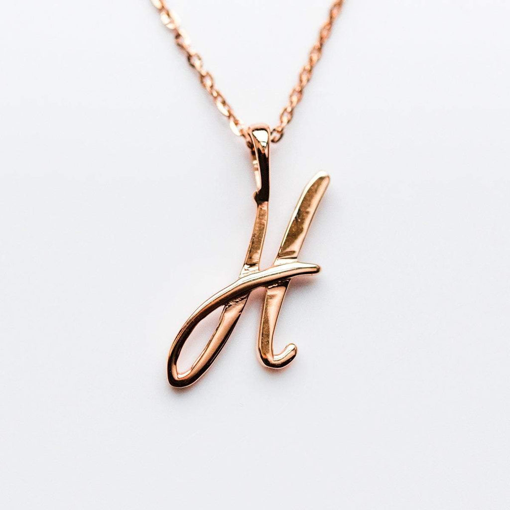 Personalized Necklace, Initial Necklace, Rose Gold Necklace with Initial, Unique Gift, Unique Jewelry, 9k Solid Gold Initial Necklace, Letter Necklaces.