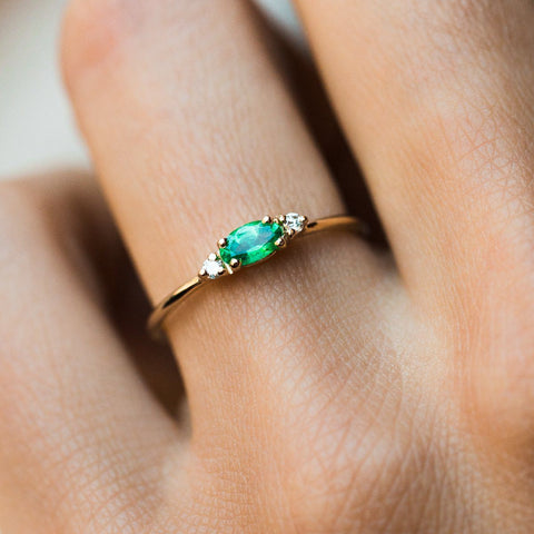 Augusta Emerald Ring in Yellow Gold - rings - LUMO local eclectic