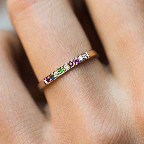 14K Rainbow Ring in Rose Gold - rings - LUMO local eclectic