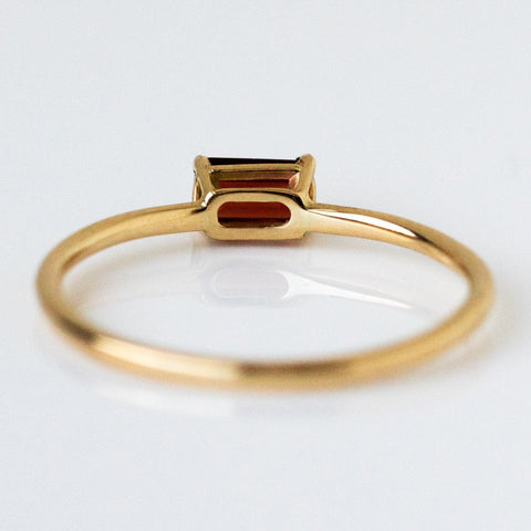 Solid Yellow 14k Gold Garnet January Birthstone Ring Fine Jewelry LUMO
