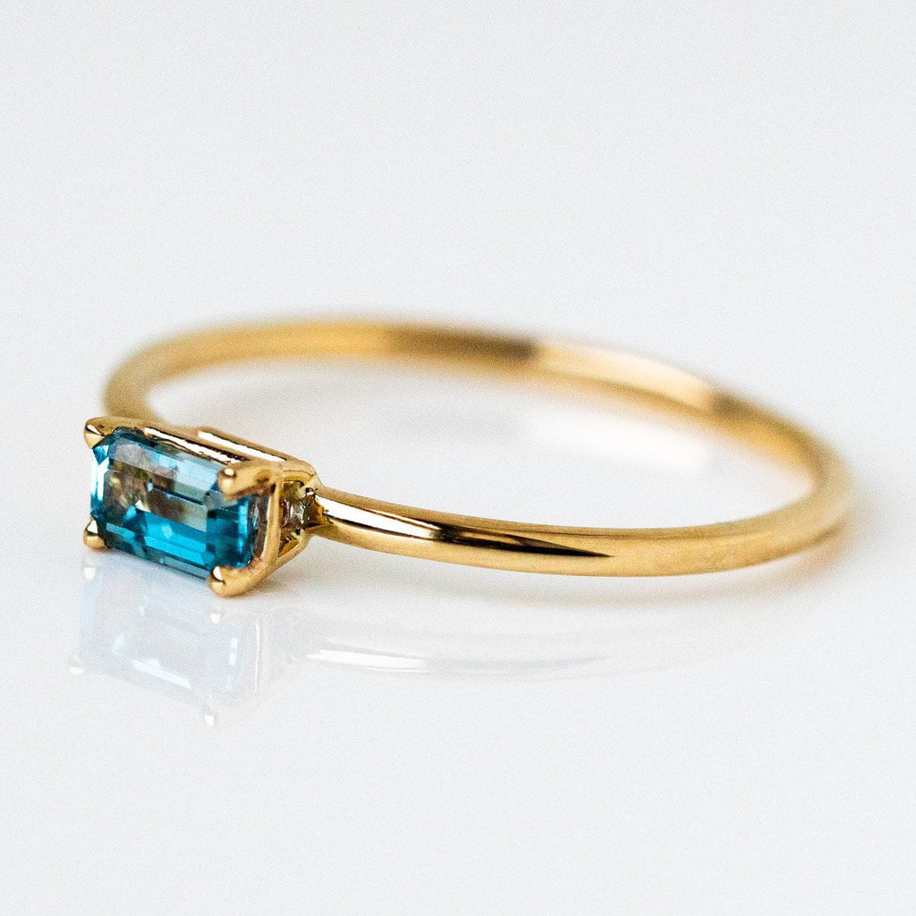 Solid 14k Yellow Gold Aquamarine Octagon March Birthstone Fine Ring LUMO