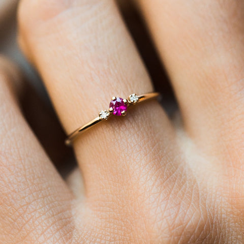 Thea Ruby with Side Diamonds Ring - rings - LUMO local eclectic