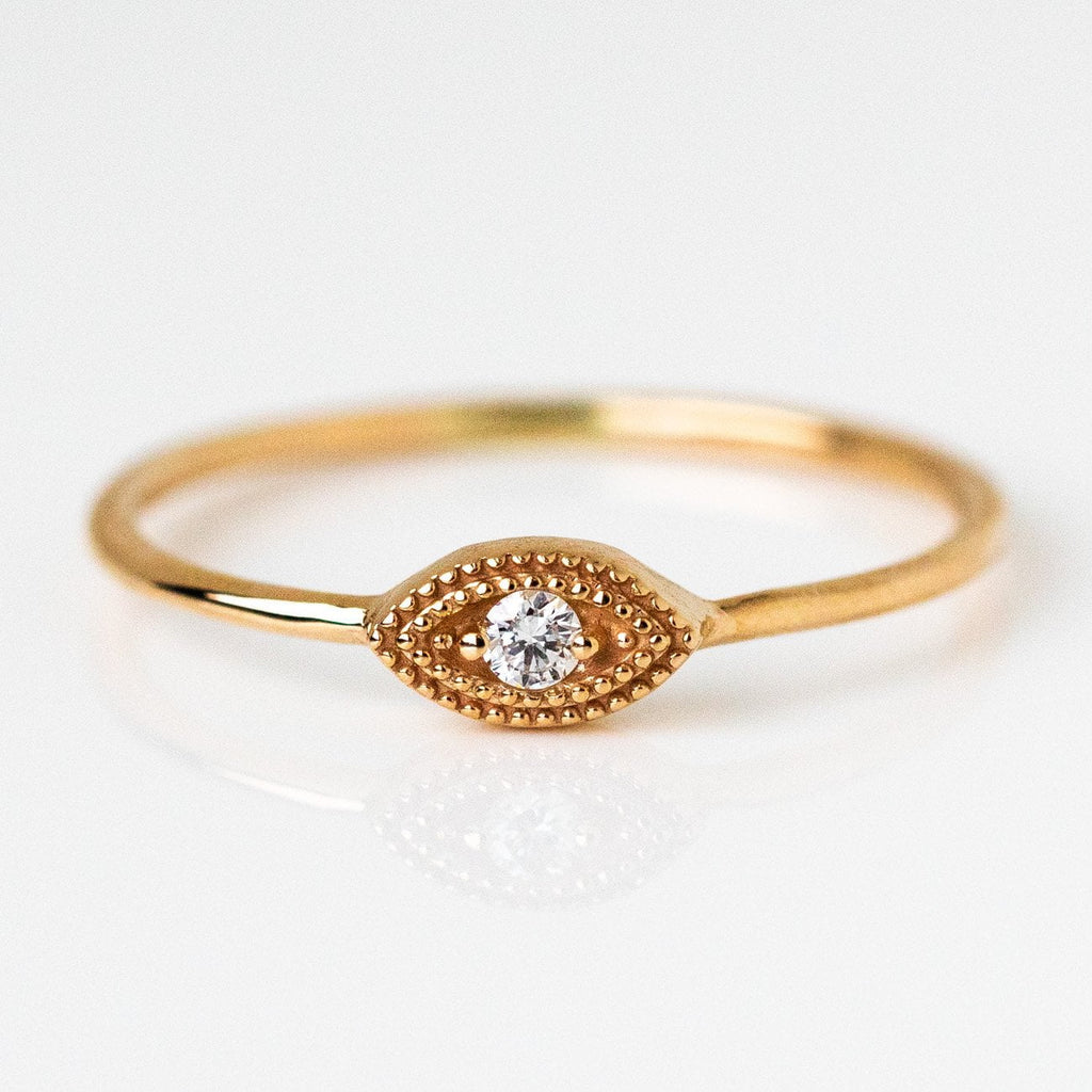 Delicate Designed White Diamond Protective Evil Eye Solid Yellow Gold Ring LUMO