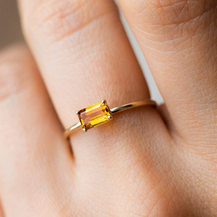 Solid Yellow 14k Gold Citrine Octagon Cut November Birthstone Ring Jewelry LUMO