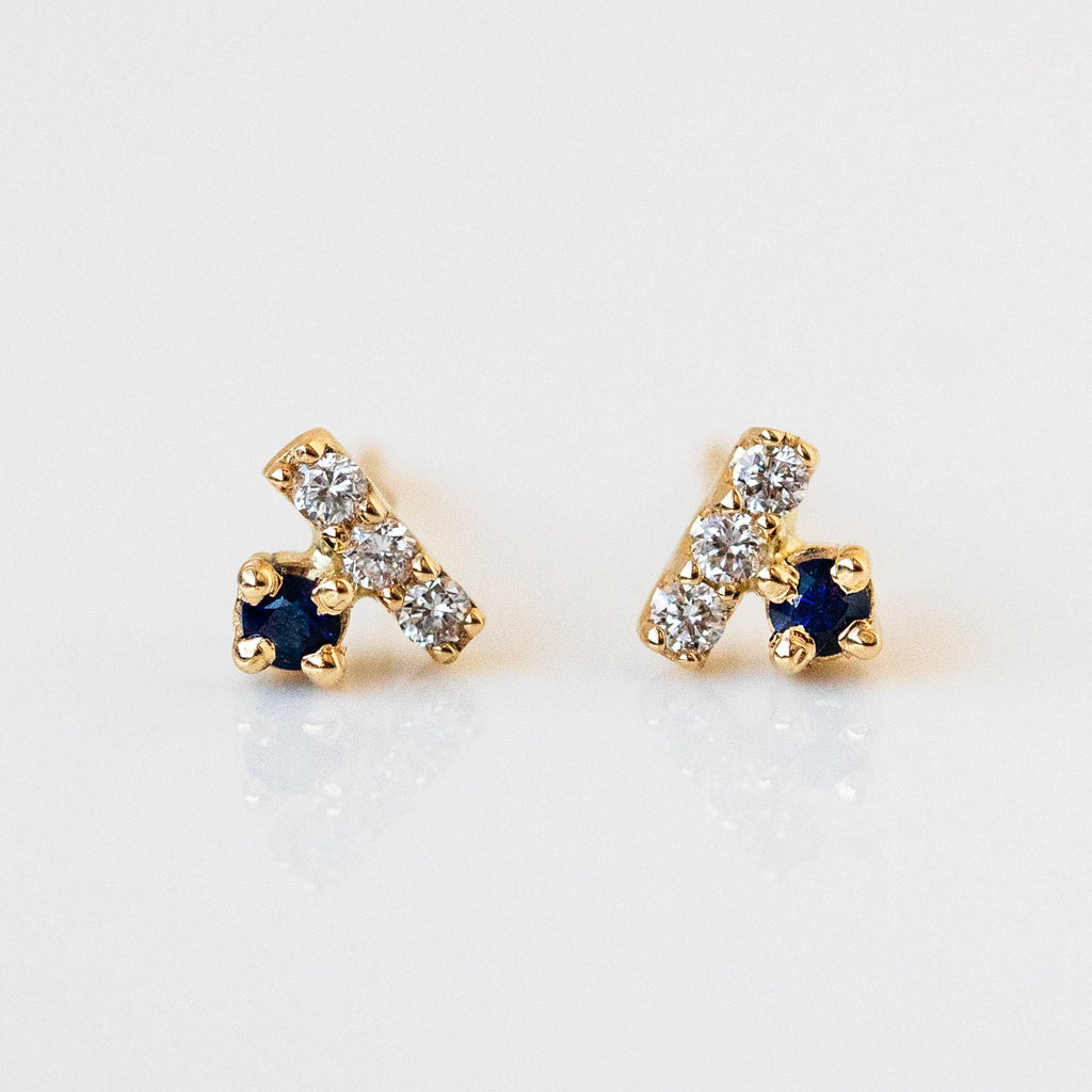 Solid Yellow Gold White Diamond Sapphire Stone Fine Dainty Jewelry Stud Earring