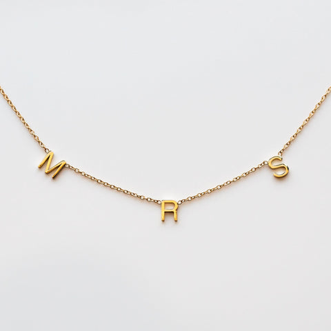 Solid Yellow Gold Mrs Initial Personalized Necklace Jewelry