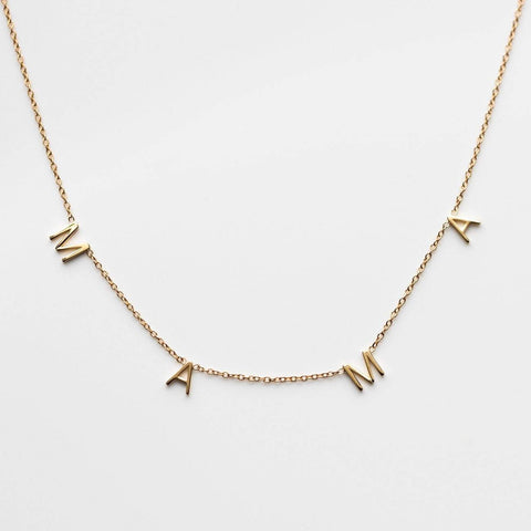 Solid Yellow 14k Gold Mama Necklace Gift LUMO
