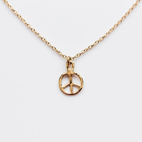 Tiny Peace Sign Necklace - necklaces - LUMO local eclectic