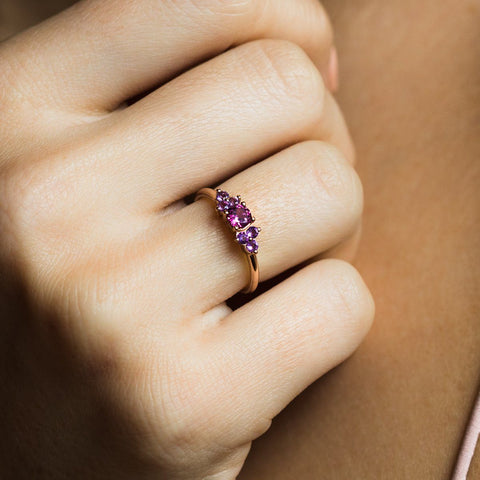 Rose Gold Rhodolite and Amethyst Ring Band