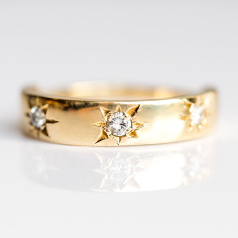 Luna Band with White Diamonds in Yellow Gold - rings - Gjenmi Jewelry local eclectic