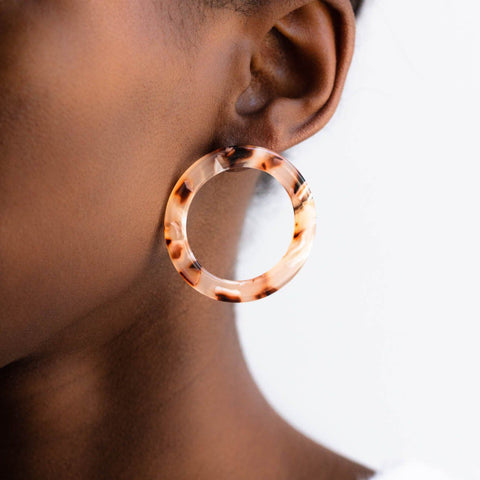 Isla Side Hoop Earrings in Blush