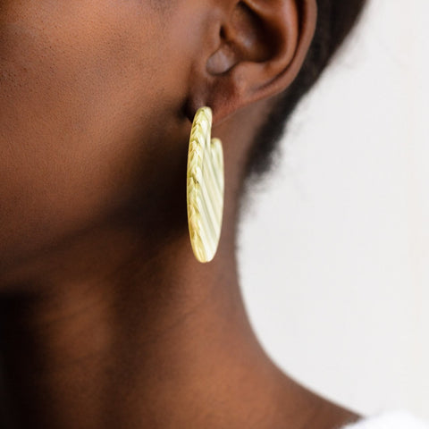 Clare Earrings in Vert Stripe