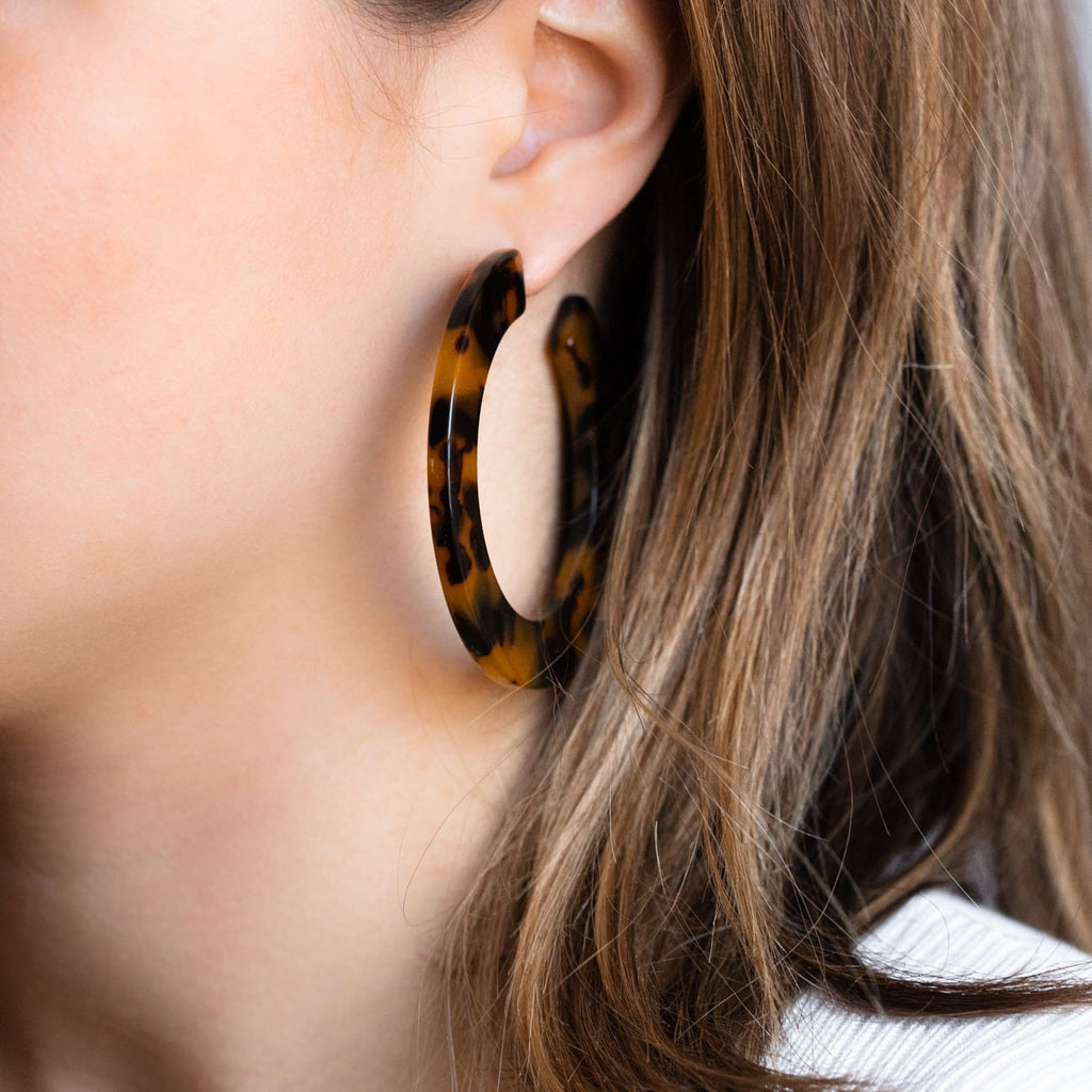 tortoise hoop earrings, resin hoops, acetate earrings