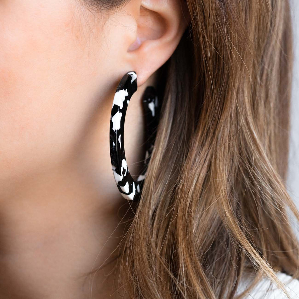 black resin earrings, acetate hoop earrings, black tortoise earrings