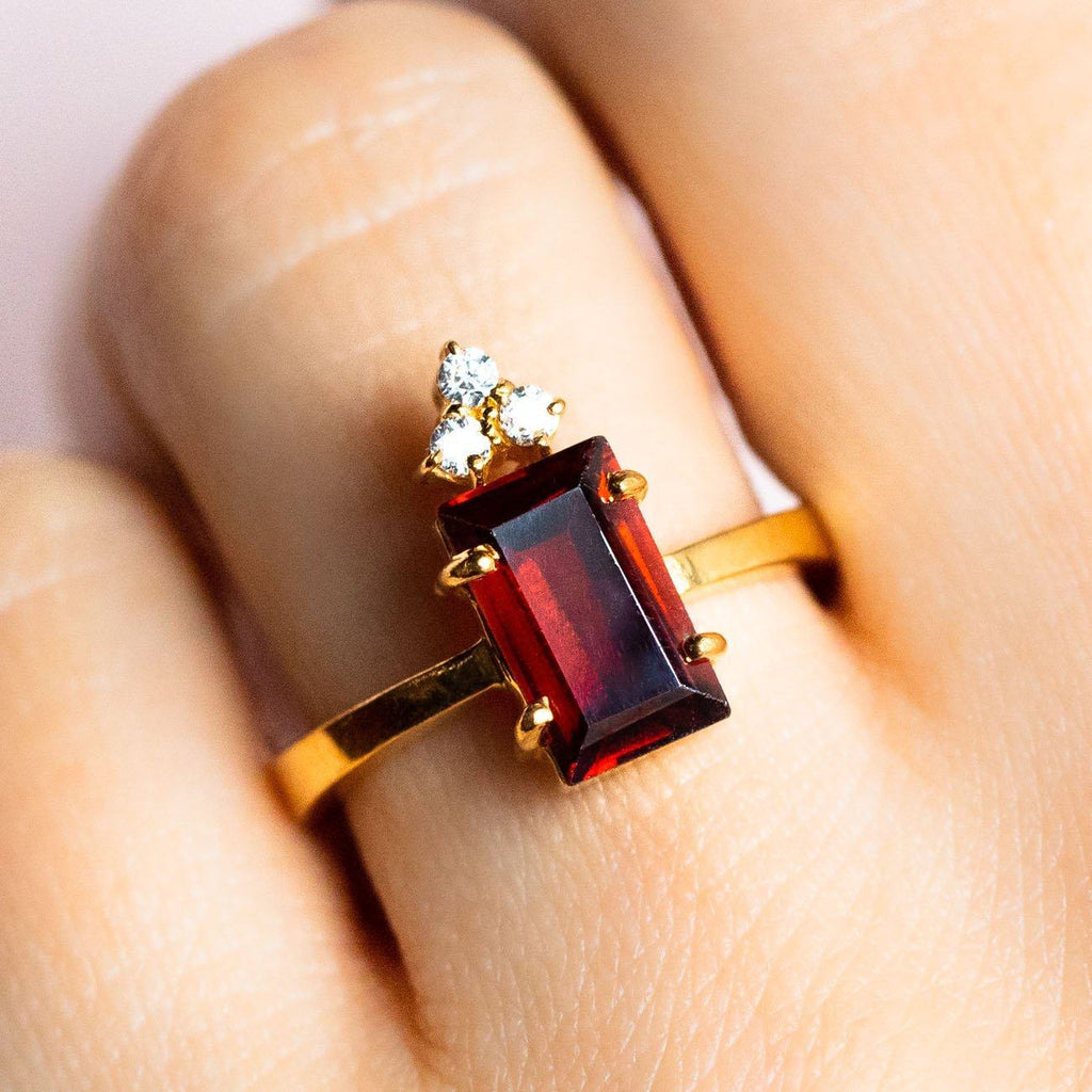 Mireya Cocktail Ring with Ox Blood Garnet