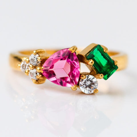 Demetria Cocktail Ring with Mixed Stones - rings - Marva Atelier local eclectic