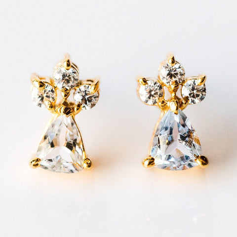Stud Earrings with Blue Topaz - earrings - Marva Atelier local eclectic
