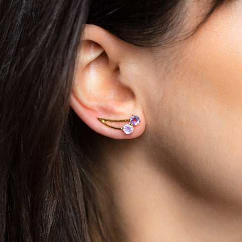 Mon Cherry Ear Climbers with Amethyst