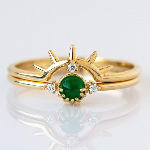 Emerald Rising Sun Stacking Ring Set
