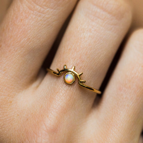 Beam Ring with Opal