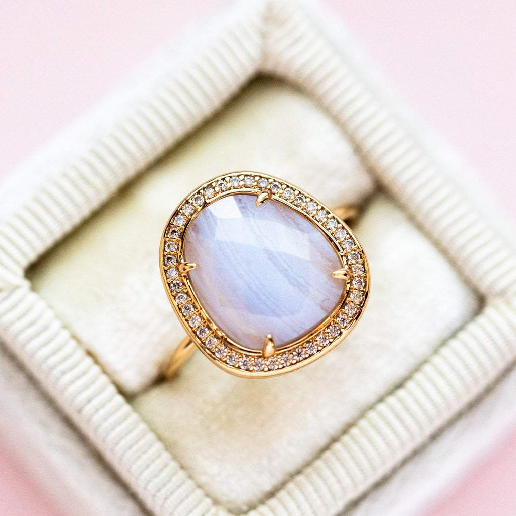 Blue Lace Agate Stone Slice Ring