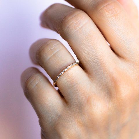 Dainty Pave Diamond Stacking Band