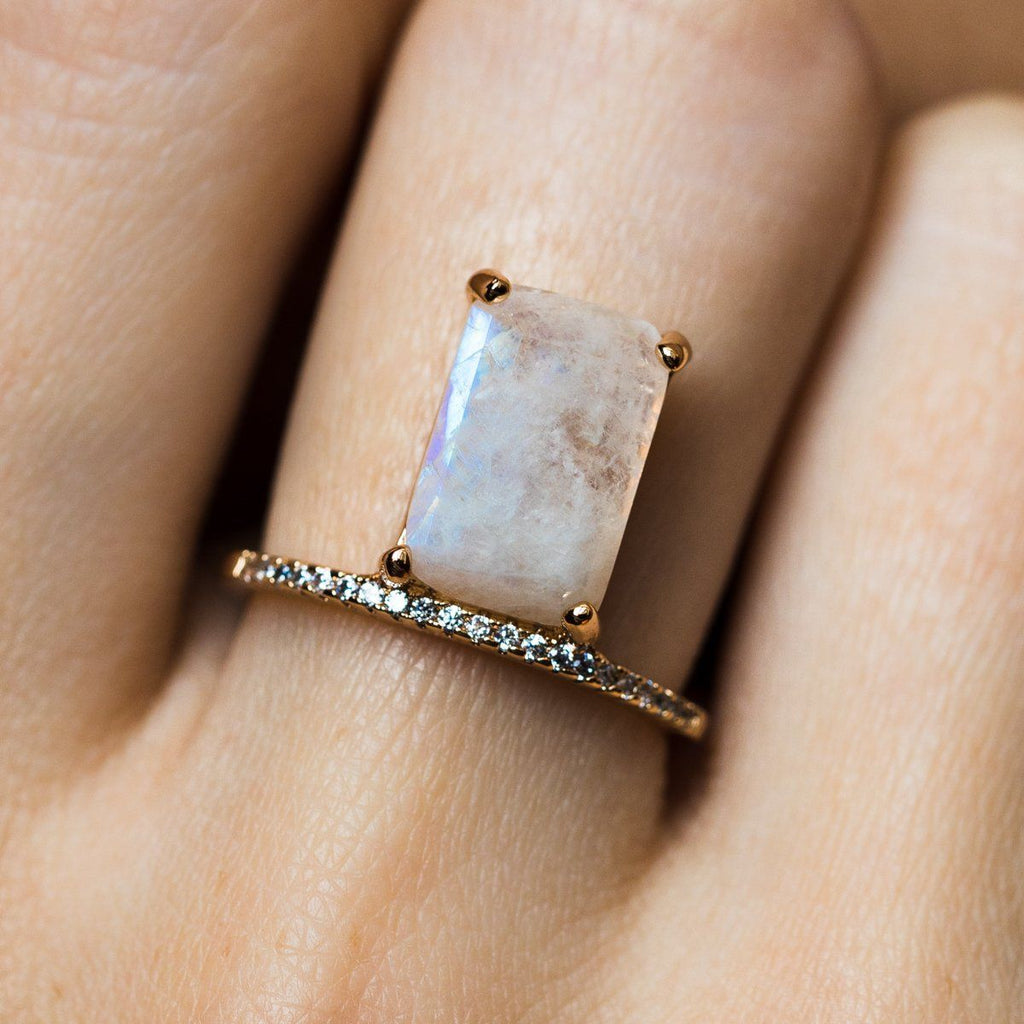 Emerald Cut Moonstone Stacking Ring - rings - Melanie Auld local eclectic