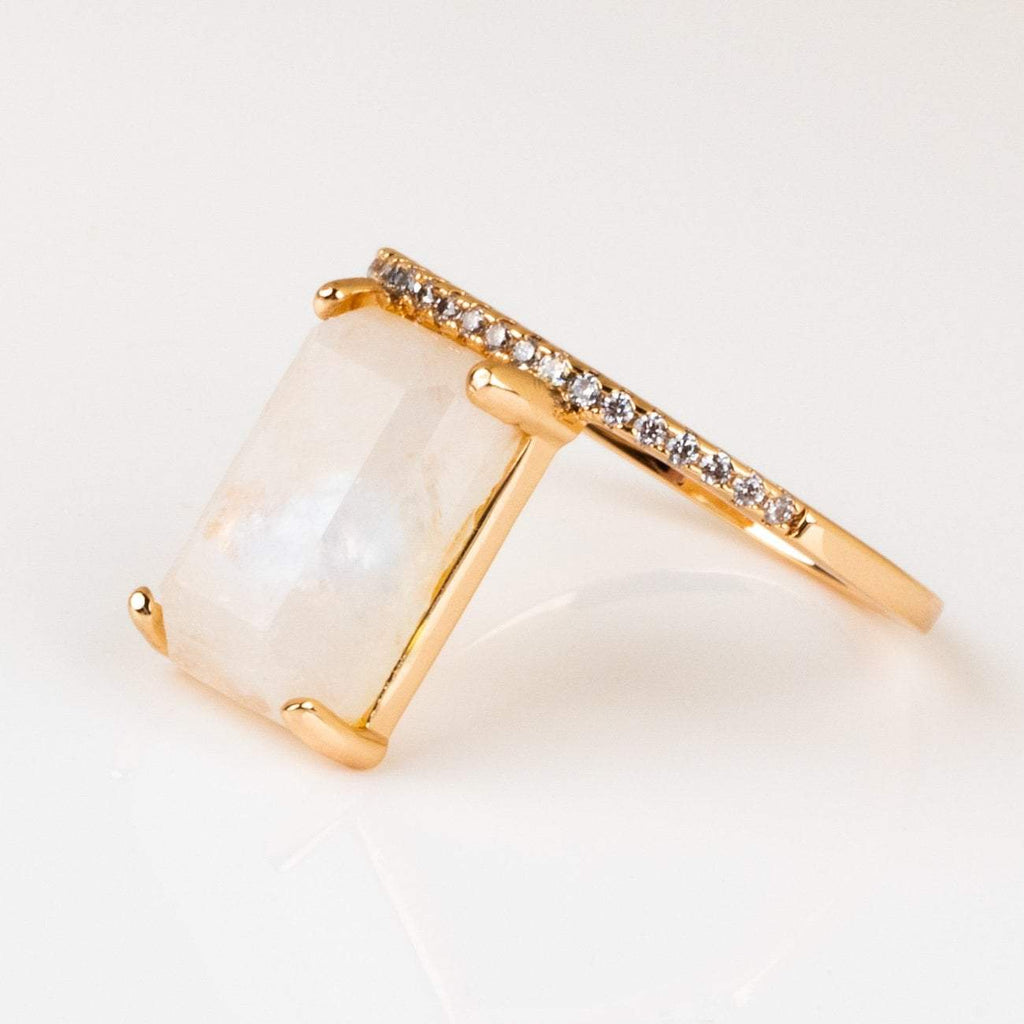 emerald cut moonstone stacking ring melanie auld