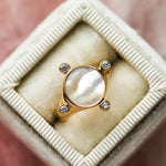 Orbit Signet Ring with Mother of Pearl - rings - Melanie Auld local eclectic