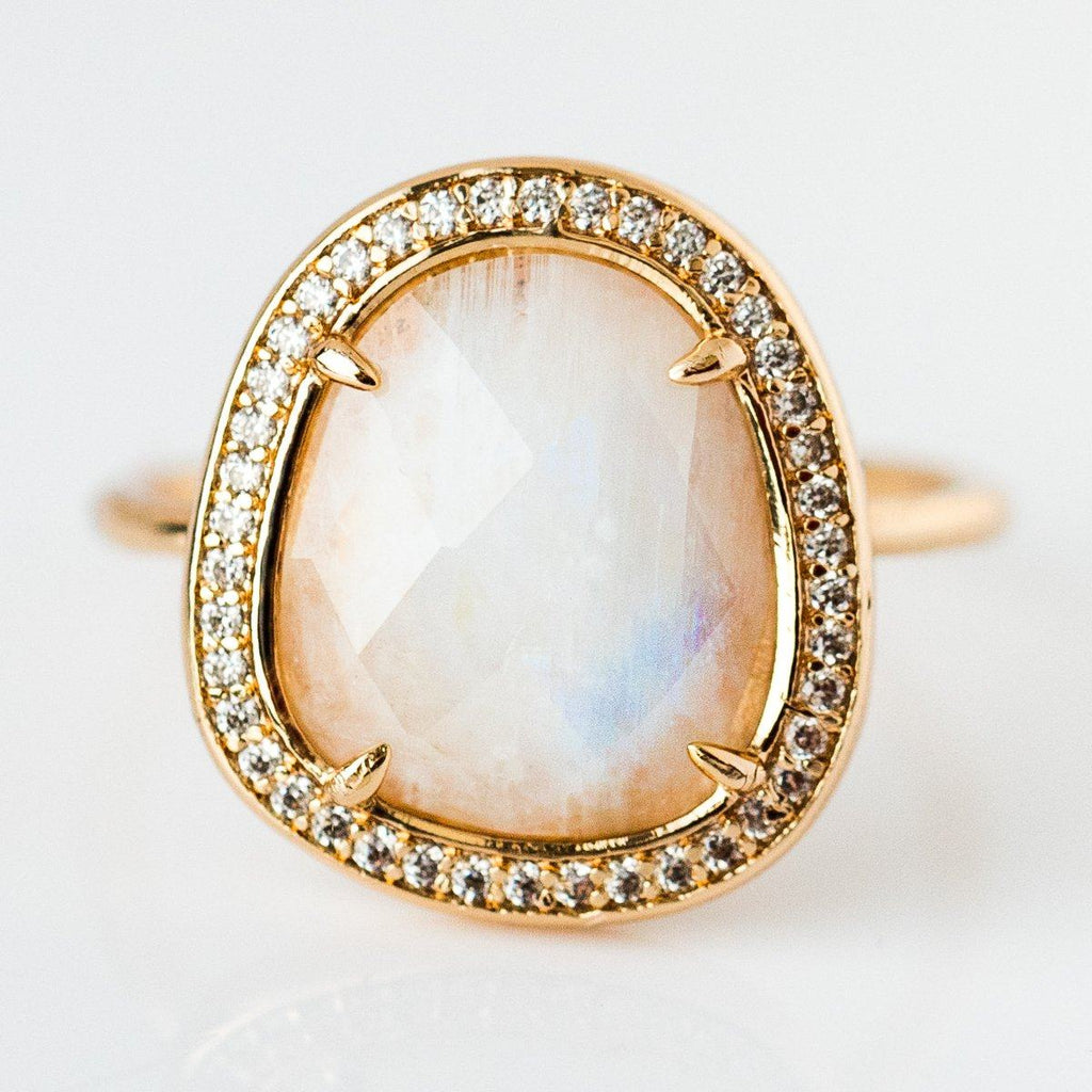 Moonstone Slice Ring - rings - Melanie Auld local eclectic