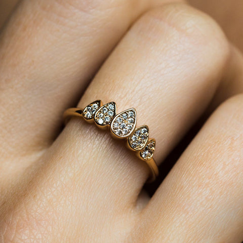 Pave Teardrop Crown Ring - rings - Melanie Auld local eclectic