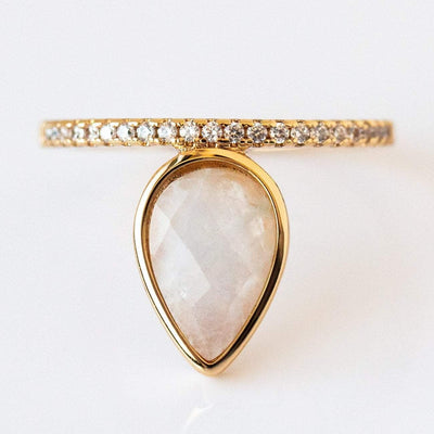 Teardrop Stacking Ring with Moonstone rings Melanie Auld