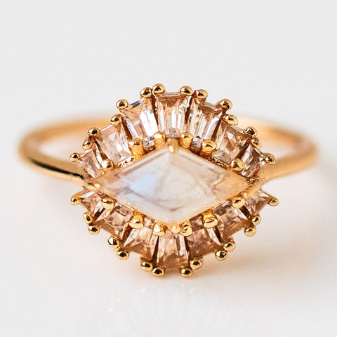 20's Inspired Matisse Ring Moonstone Yellow Gold White Topaz