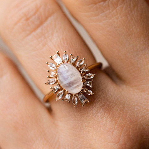 Moonstone white topaz vintage inspired yellow gold ring