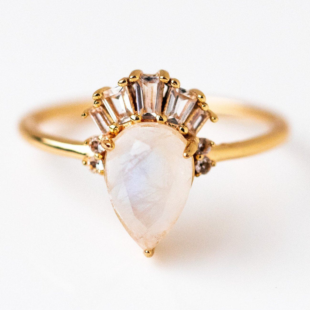 Monet Ring White Topaz Crown Yellow Gold Statement Ring Jewelry