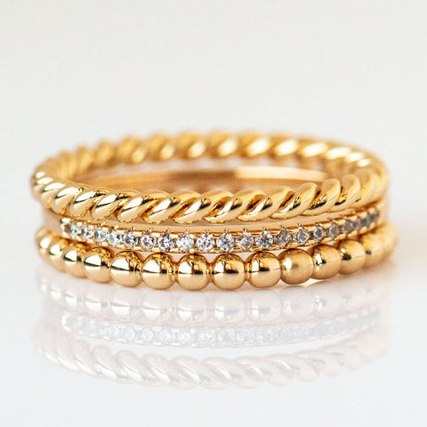 Balia Stacking Ring Set in Yellow Gold
