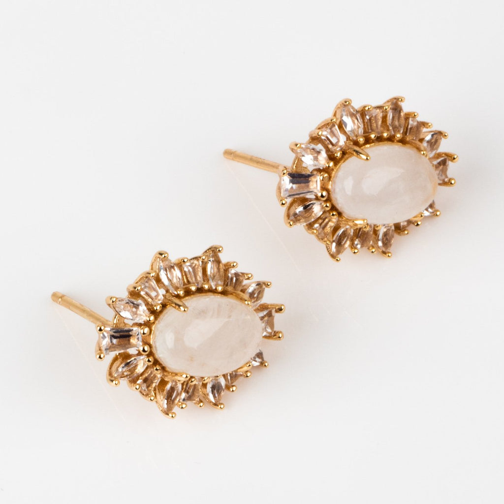 moonstone statement stud white topaz earring jewelry
