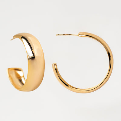 Oro Hoop Earrings modern yellow gold minimal statement hoops