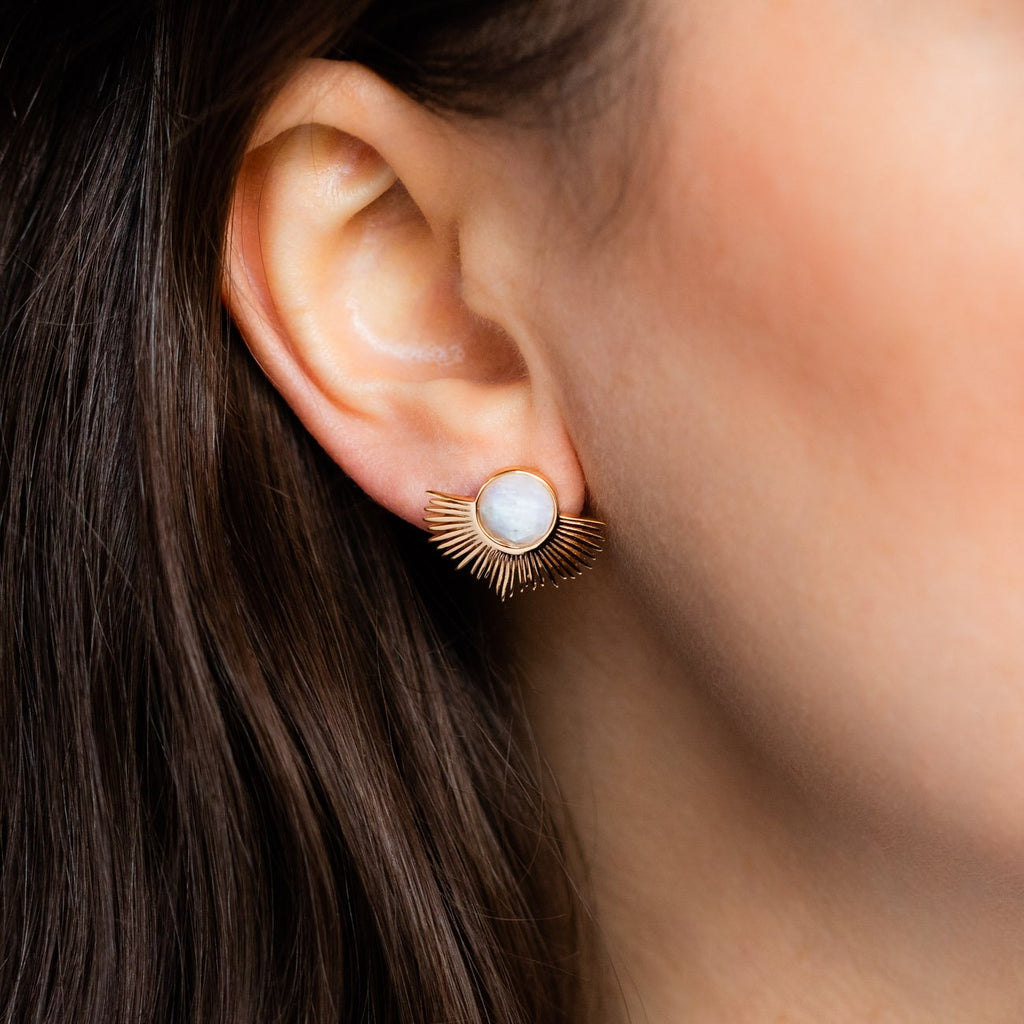 Moonstone Pegasus Studs - earrings - Melanie Auld local eclectic