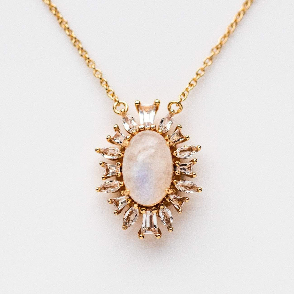 Romantic Vintage Inspired Yellow Gold Necklace Topaz
