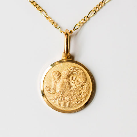 aries unique yellow gold horoscope pendant necklace with figaro chain