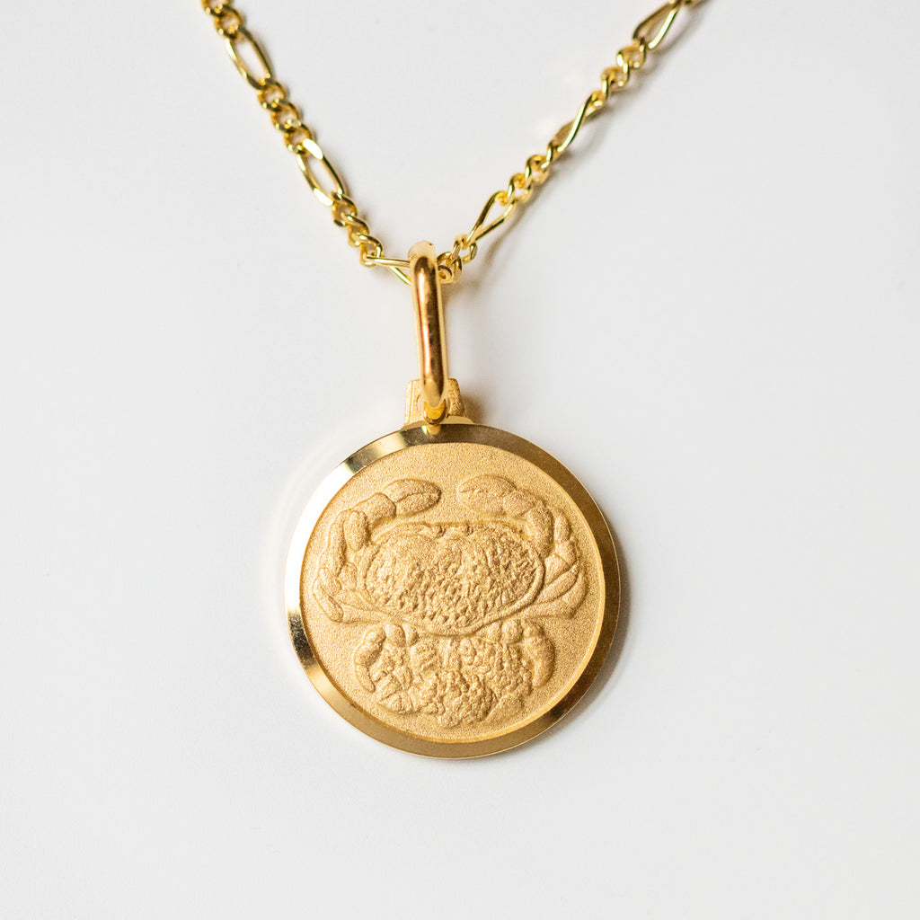 cancer unique yellow gold horoscope pendant necklace with figaro chain