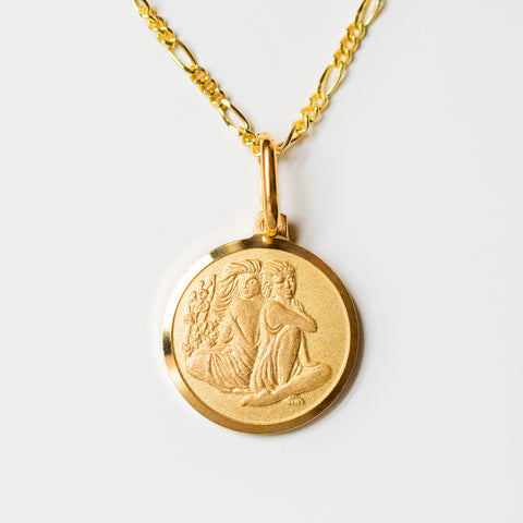 gemini unique yellow gold horoscope pendant necklace with figaro chain