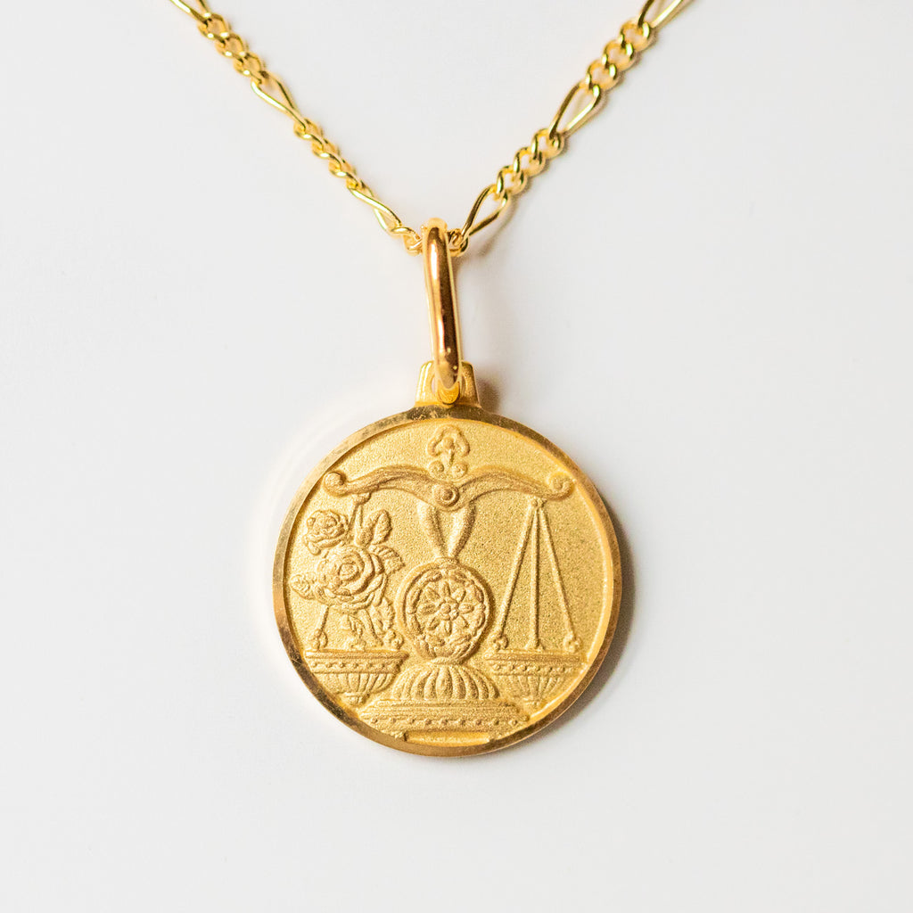 libra unique yellow gold horoscope pendant necklace with figaro chain