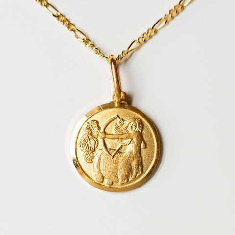 Sagittarius unique yellow gold horoscope pendant necklace with figaro chain