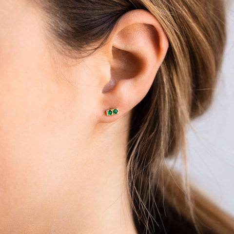 Doubles Earrings with Emerald