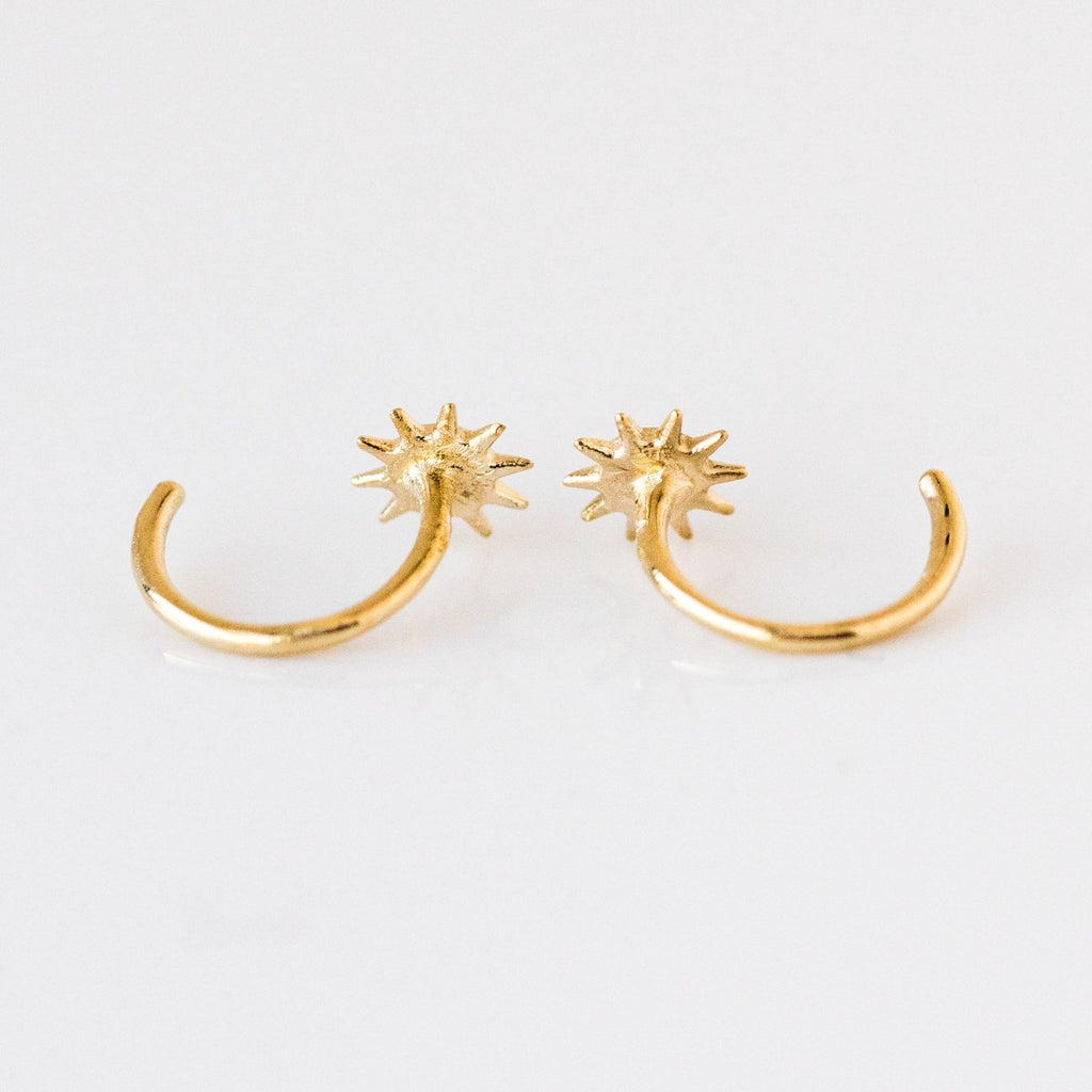 Solid Gold Star Bright Huggies with CZ - earrings - Merewif local eclectic