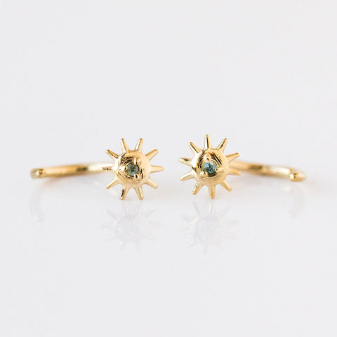 Solid Gold Star Bright Huggies with Aquamarine - earrings - Merewif local eclectic