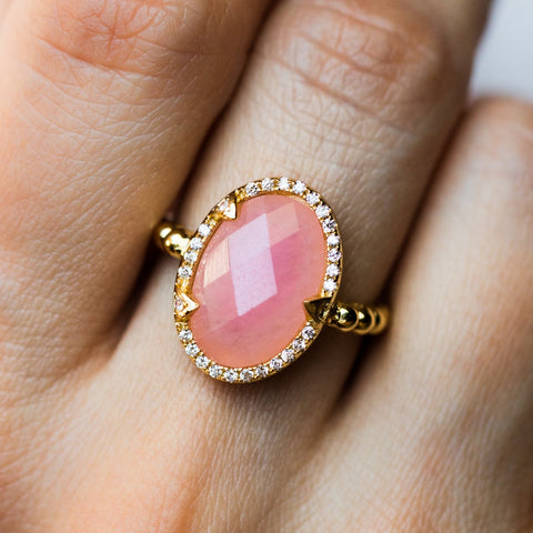 Maya Ring in Gold with Rose Quartz - rings - Melinda Maria local eclectic